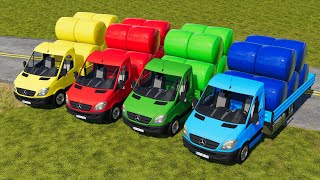 LORD OF COLORS ! VOL. 3544 ! HAY SILAGE BALE AUTO LOADING with MERCEDES TRUCK ! Farming Simulator 19