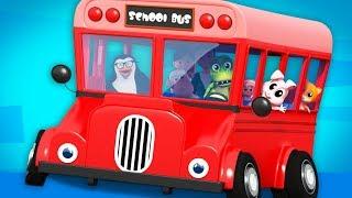 Red Wheels On The Bus   Nursery Rhymes   Junior Squad Cartoons