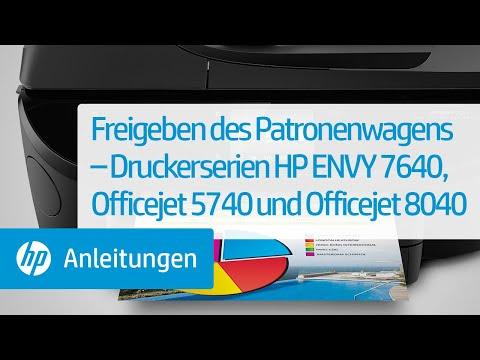 Freigeben des Patronenwagens – Druckerserien HP ENVY 7640, Officejet 5740 und Officejet 8040