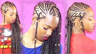 Protective Style| Heart Ladder/Bridge Inspired Braids | Invisible Root Cornrows