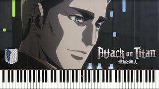 Erwin's Charge (tooth-i:/APETITAN) Attack on Titan Season 3 Part 2 EP 4 OST Piano Synthesia Tutorial