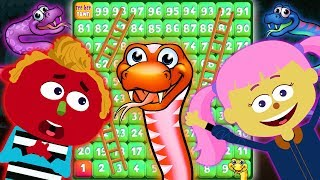 Giant Board Game Challenge Playing Giant Snakes And Ladders With Len And Mini | Fun Videos For Kids