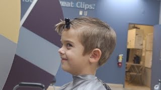 HE IS NOT SCARED! | HE GOT HIS DREAM HAIRCUT AT GREAT CLIPS!!