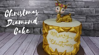 Gold Diamond Christmas Cake – How to make a Diamond Pattern onto a Cake