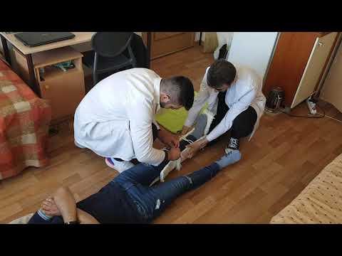 Наложение лестничных шин при переломе голени