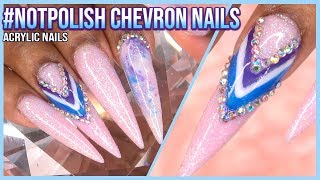 Acrylic Nails Tutorial - How To Encapsulated Nails - Color Block Chevron Nails With Nail Tips