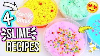 4 DIY INSTAGRAM FAMOUS SLIME RECIPES! I Tried Following a Peachybbies Slime Tutorial!