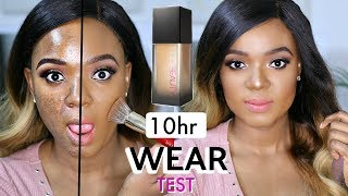 HUDA BEAUTY FAUX FILTER FOUNDATION REVIEW, FIRST IMPRESSION & 10HR WEAR TEST ON ACNE/OILY PRONE SKIN