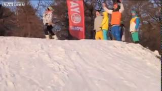 Stupid chick walks right across a ski jump High Lucky girl almost lost her head or life
