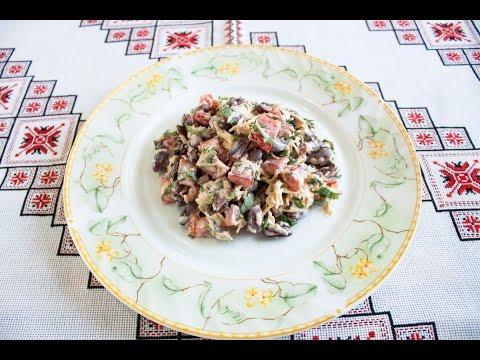Салат ОБЖОРКА рецепт Как приготовить салат обжорка Обжорка салат Простой салат с колбасой и фасолью