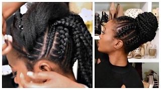 Feed In Stitch Braids Bun With Pre-Stretched Hair - Very Affordable
