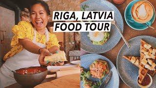 Trying Latvian Food: Dumplings, Central Market & Rye Bread Trifle | Riga Food Tour, Travel Vlog