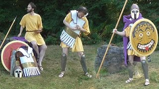 Donning hoplite armour