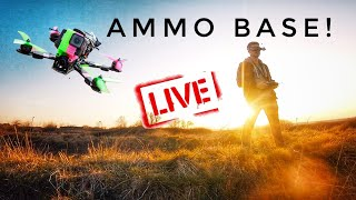 Racing Drone Chase at The Ammo Base! LIVE