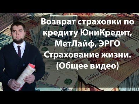 Возврат страховки по кредиту - банк ЮниКредит,  страховая МетЛайф, ЭРГО Жизнь (Общее видео).
