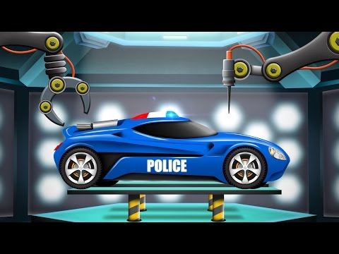 Police Car | Car Garage | Cartoon Car Remodel | Futuristic Vehicles For Kids