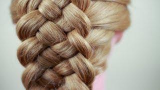 Смотреть онлайн Как плести косу из пяти прядей