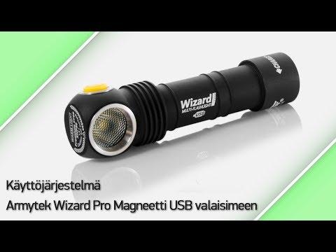 Käyttöjärjestelmä Armytek Wizard Pro Magneetti USB valaisimeen