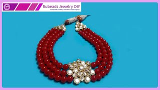 💓 How To Make Party Wear 👩 Designer Bridal Kundan Necklace | Handmade Jewellery | Rubeads Jewelry