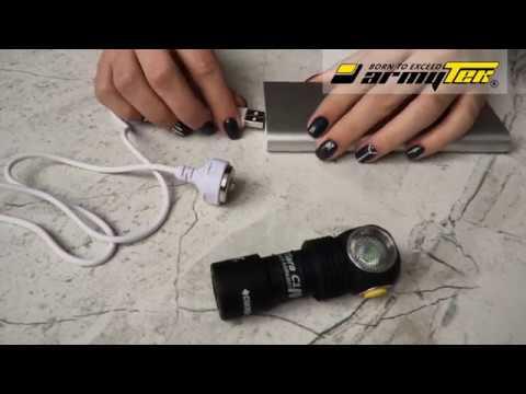 Näin lataat Armytek monitoimivalaisimia magneetti USB- laturilla