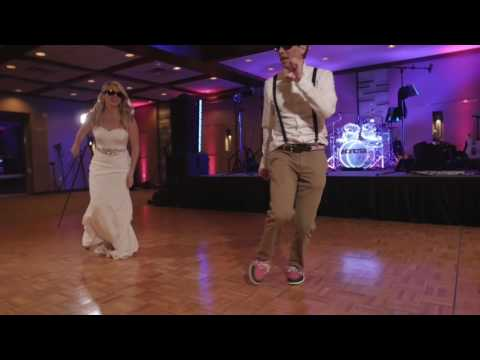 Bride and Brother Surprise Guests with Blues Brothers Dance