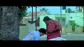 Mad person asking address to Bullet Prakash | Kannada Comedy Scenes | Mallikarjuna Kannada Movie