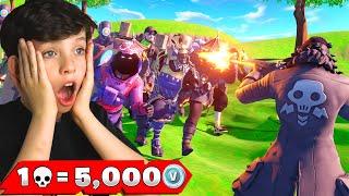 1 Elimination = 5,000 VBucks with My Little Brother! (Fortnite Challenge)