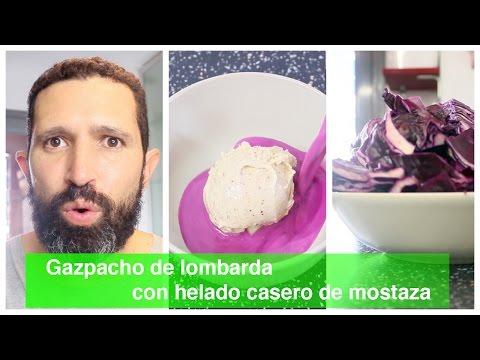 Gazpacho de lombarda con helado casero de mostaza.