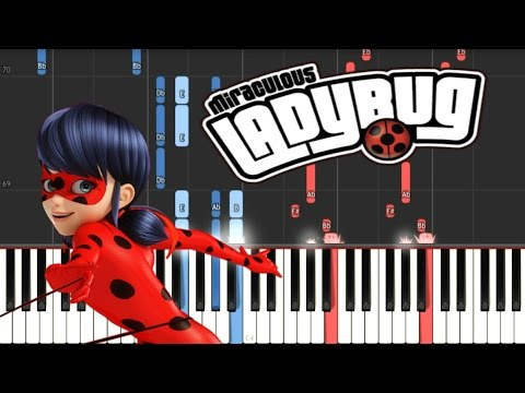 MIRACULOUS LADYBUG - Theme Song // Synthesia Piano Tutorial