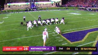 Blake Haubeil hits 55 yard FG // Ohio State vs. Northwestern field goal