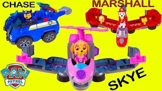 Paw Patrol Toys Unboxing Flip and Fly Skye, Chase Vehicles   Ellie Sparkles