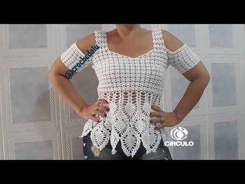 8588871011c4 Crochet Bracelet - Blusa em crochê com ponto abacaxi - Parte 1