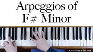 F# (F Sharp) Minor Arpeggios for Piano hands separately and hands together