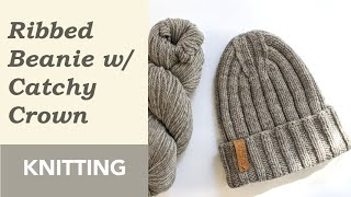 How to Knit: Ribbed Beanie with Catchy Crown. Double Pointed / Circular Needles. Wool Yarn.