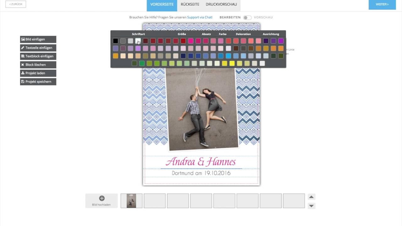 Dankeskarte.com Online-Editor Schnellanleitung