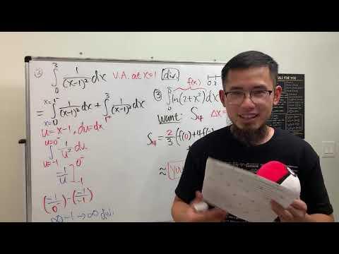 Solving My Calc 2 Exam#2 (improper integrals, approximating integrals, & separable diff eq)