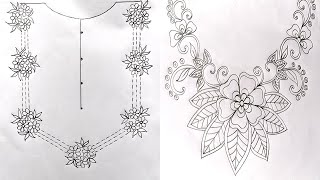 5 Easy Hand Embroidery Pattern,Simple Neck Embroidery Design Patterns,Pencil Art,গলার ডিজাইন,पैटर्न