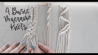 3 Basic Macrame Knots  (square Knot, Spiral Knot, Double Half Hitch + Larks Head)