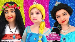Disney Princesses Costumes & Kids Makeup with Colors Paints Pretend Play with Real Princess Dresses