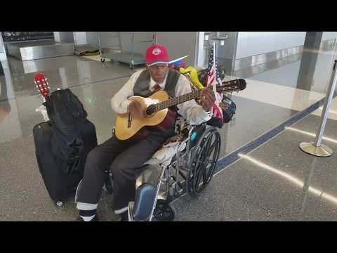 Man sings about his love for  United Airlines at Los Angeles International Airport