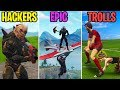 Double Glider Flying   Hackers Vs Epic Vs Trolls  Fornite Battle Royale Funny Moments