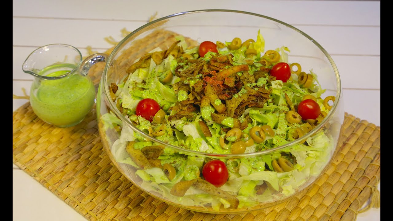 Lettuce and zaater (thyme) salad