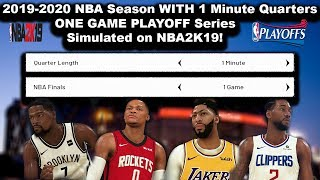 What if the 2020 NBA Season had 1 Minute Quarters and 1 Game PLAYOFF SERIES? Simulated in NBA2K!