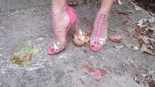Miss Vanessa crushing food outside with hot sexy shoes