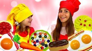 Барби в Плей До Кафе - кексы и мясо из Play Doh.