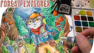 Speed Painting FOREST EXPLORER - Watercolor & Ink Illustration