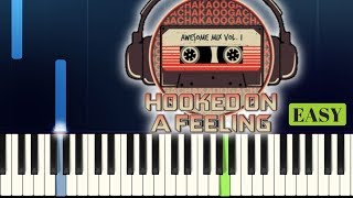 Blue Swede   HOOKED ON A FEELING   Guardians Of The Galaxy   EASY PIANO TUTORIAL