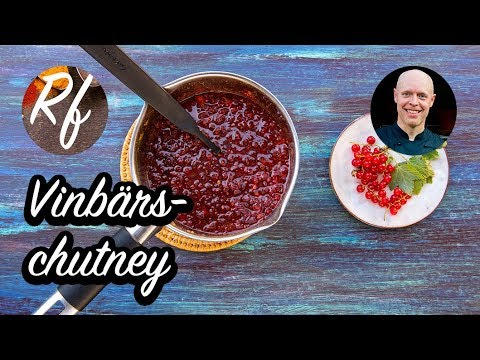 Vinbärschutney med syrliga röda vinbär, socker, lök, färsk chili, kanel, vinäger, färsk ingefära, garam masala och curry.>