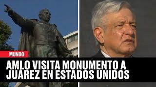 AMLO cantó el himno nacional mexicano frente al monumento a Benito Juárez en Estados Unidos