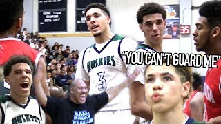 "Lonzo Ball: ""YOU CAN'T GUARD ME!"" LiAngelo Talking TRASH & LaMelo CRAZY JELLY at 14!"